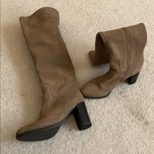 Nine West taupe suede over knee heeled boots